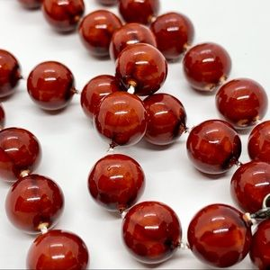 5/$25 Deep Red Beaded Single Strand Necklace 24""